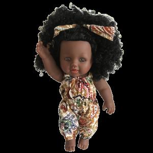 belle poupeé africaine vêtue en wax